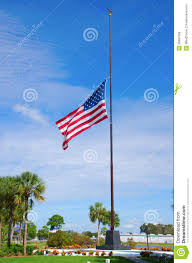 Flying The Flag At Half Staff United States Of America Flag At Half Staff Stock Photo Image
