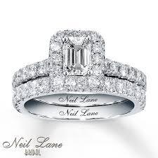 neil emerald cut engagement rings neil bridal 1 7 8 ct tw set 14k white gold 9 4 16