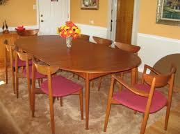 mid century danish modern oval teak dining table w 2 leaves with