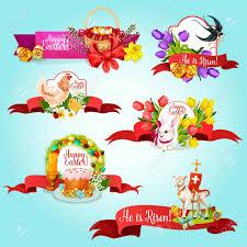 easter ribbon easter ribbon banner and label set easter egg rabbit bunny