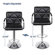 Office Bar Stool Chair Songmics Adjustable Bar Stools With Arms And Back Leather Swivel