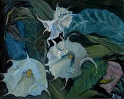 White Trumpet Flower - saatchi art white trumpet flowers painting by edit petronella katona
