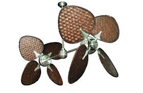 paddle fans ii brushed steel tropical dual ceiling fan with 46