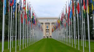 Picture Of Un Flag United Nations Building With Flags Geneva Switzerland 4k Stock