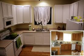 fine brown painted kitchen cabinets with white appliances inside