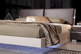 anzio contemporary floating bed with led lights