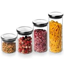 kitchen glass canisters with lids pindefang clear glass airtight storage canister with stainless
