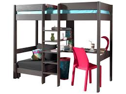 lit en hauteur avec canapé lit mezzanine lena avec canapé lit taupe acheter en ligne emob
