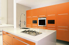 Bright Colored Kitchens - the island stands out from the bright colors by using a bright