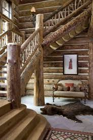 adorable log cabin stairways and decorative lumbar pillow covers