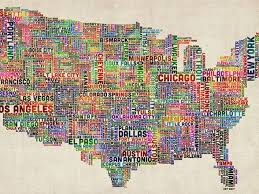 map of us cities us cities text map vi 18x24 canvas