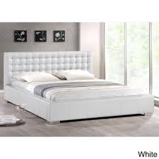 baxton studio madison white modern full size bed with upholstered