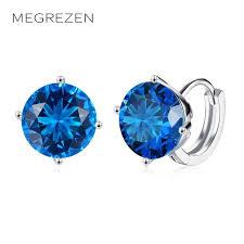 brinco zirconia megrezen lindo pendientes con una piedra azul brinco zirconia