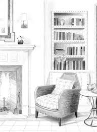 Living Room Architecture Drawing Drawing Of Living Room From Architectural Digest U2013 Julia Ableson