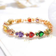 colored charm bracelet images 18k imitation gold heart shaped colored diamond bracelet female jpg