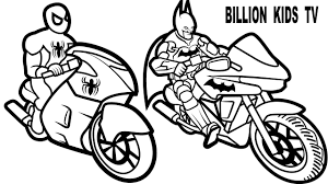 color fun bikes jumping with spiderman and batman coloring pages