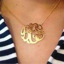 large monogram necklace shop 14k gold monogram necklace on wanelo