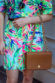 tropical in a palm print lilly pulitzer dress orchids and oxfords