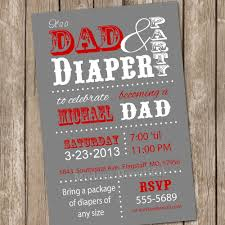 dad baby shower invitation diaper baby shower invitation red