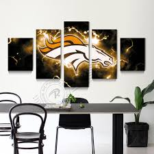5 Panel Wall Art Denver Broncos Picture Painting Modern Prints