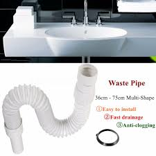 Flexible Basin Sink Trap Waste Pipe Bathroom Kitchen Syphon - Kitchen sink waste traps