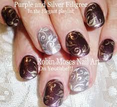 nail art tutorial diy filigree nails purple and silver nail