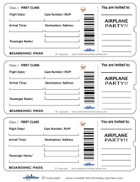 printable airplane boarding pass invitations coolest free