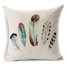new feather design throw pillowcase cotton linen cushion cover