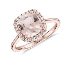 gold and morganite ring morganite and diamond halo cushion ring in 14k gold 8x8mm