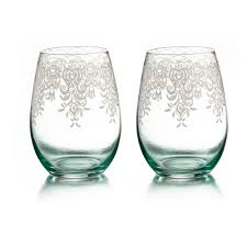 fifth avenue crystal lace set of 2 stemless glasses jay companies