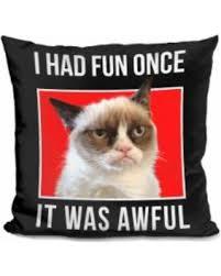 Grumpy Cat Meme I Had Fun Once - deals on lilipi grumpy cat meme decorative throw pillows i had fun