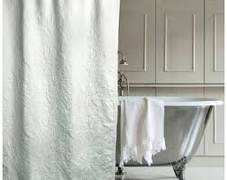 White Cotton Duck Shower Curtain Monogrammed Shower Curtain Etsy