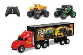 grave digger toy monster truck amazon com new bright r c s f hauler set car carrier with two