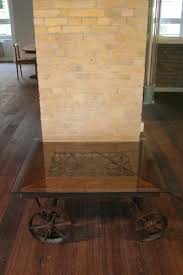 vintage industrial coffee table on wheels for sale at pamono