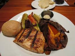 grilled salmon with baked sweet potato and grilled vegetables