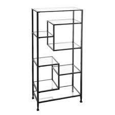 harper blvd jensen metal glass asymmetrical etagere bookcase black