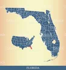 Florida Coast Map Florida County Map Outline Vector Illustration Stock Vector Art