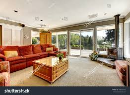 Red Sofa In Living Room by Living Room Many Windows Red Sofa Stock Photo 108652418 Shutterstock