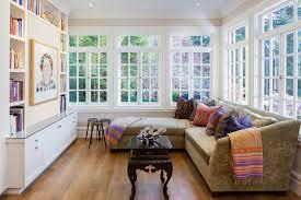Sunroom Sofa Sage Green Sofa Sunroom Traditional With Built In Bookshelves