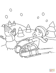 little boy riding a sledge coloring page free printable coloring