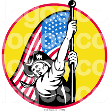 Flag With Red Circle Royalty Free American Revolutionary Soldier And American Flag Over