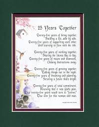 25 wedding anniversary gift a gift present poem for a 25th wedding anniversary