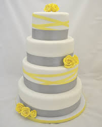 grey and yellow ribbon wedding cake cakecentral com