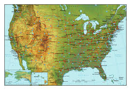 Us Maps States Topographical Map Of The Usa With Highways And Major Cities For Us