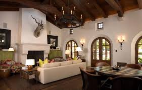 rustic hacienda style living room with dining room