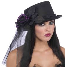 funeral hat deluxe black or funeral costume top hat with purple