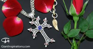 blue zircon jewelry necklace images Apostolic cross red blue zircon silver necklace pt 155rb jpg