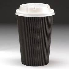 50 usa e getta ripple carta tazze di caffè con coperchi 12 oz nera