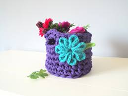 handmade crochet basket home decor crochet gifts floral basket