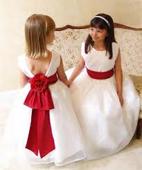 2016 white cheap girls dresses special occasion jewel red ribbon